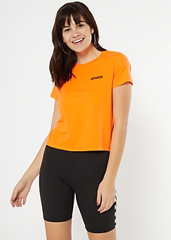 Neon Orange Antisocial Embroidered Tee