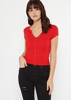Red Snap Button Henley Top