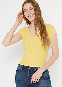 Yellow Snap Button Henley Top