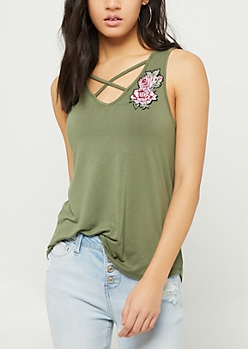 Olive Embroidered Patch Strappy Tank Top