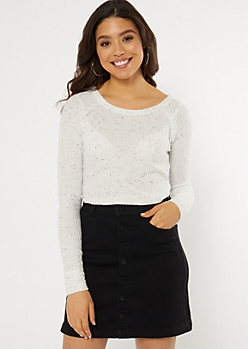 Ivory Speckled Waffle Knit Tunic Top