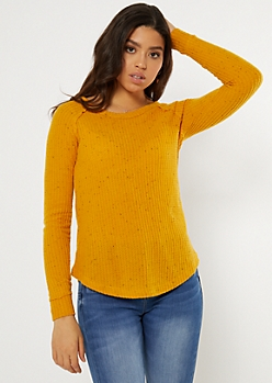 Yellow Speckled Waffle Knit Tunic Top