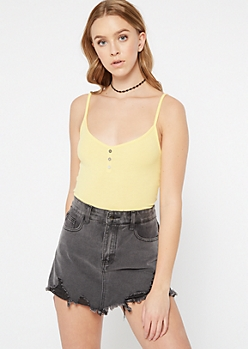 Yellow Faux Button V Neck Tank Top