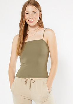 Olive Super Soft Bungee Tank Top
