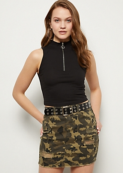 Black Zip Mock Neck Crop Top