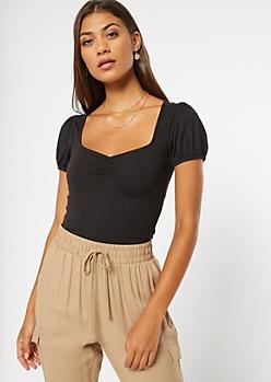 Black Super Soft Puff Sleeve Top