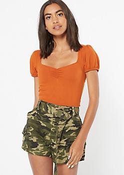 Burnt Orange Super Soft Puff Sleeve Top