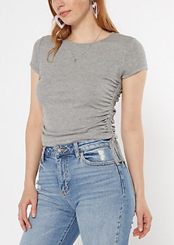 Gray Tie Side Ribbed Knit Tee
