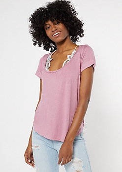 Dusty Pink Essential Bralette Tee