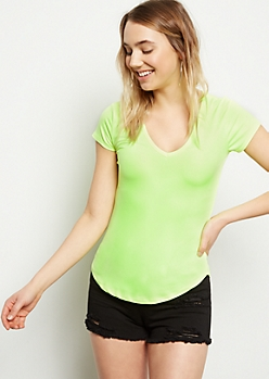 Neon Yellow Super Soft V Neck Tee