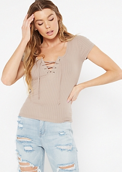 Taupe Lace Up V Neck Tee