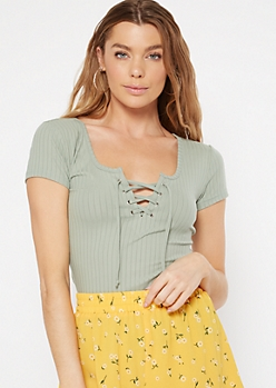 Light Green Lace Up V Neck Tee
