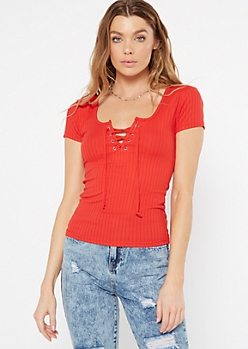 Red Lace Up V Neck Tee