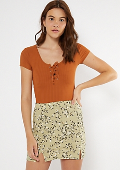 Burnt Orange Super Soft Lace Up V Neck Tee
