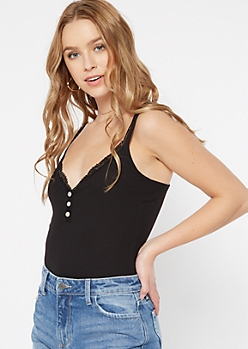 Black Lace Shell Button Tank Top
