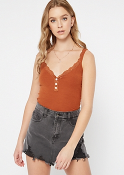 Burnt Orange Lace Shell Button Tank Top