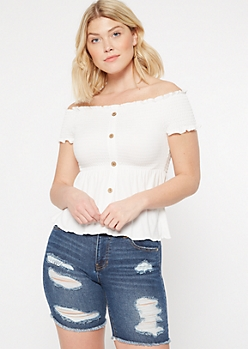 White Off The Shoulder Button Down Peplum Top