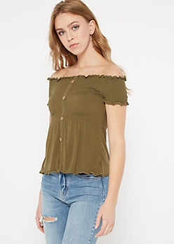 Olive Off The Shoulder Button Down Peplum Top
