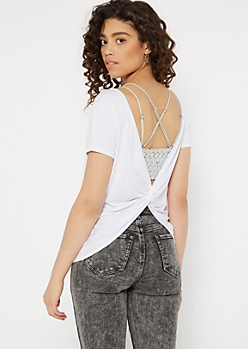 White Twist Back Tee