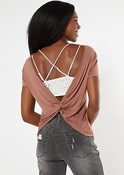 Taupe Twist Back Tee
