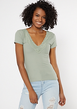 Green Lace Trim V Neck Super Soft Tee