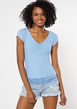Blue Cinch V Neck Lace Trim Super Soft Tee
