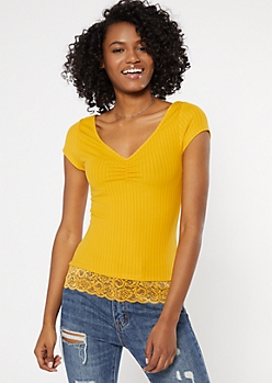 Yellow Cinch V Neck Lace Trim Super Soft Tee