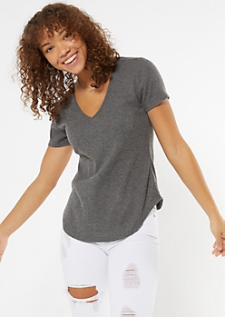 Charcoal Gray Ribbed Hacci Knit Tunic Tee