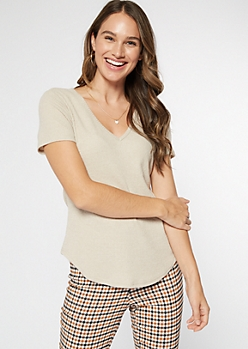 Ivory Ribbed Hacci Knit Tunic Tee