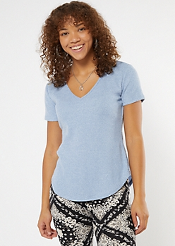 Baby Blue Ribbed Hacci Knit Tunic Tee