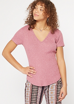 Pink Marled Ribbed Hacci Knit Tunic Tee