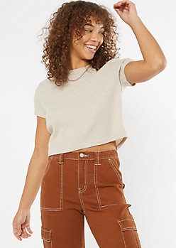 Taupe Super Soft Ribbed Knit Boxy Tee