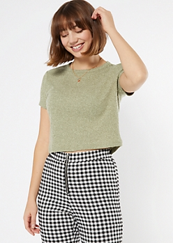 Olive Super Soft Ribbed Knit Boxy Tee