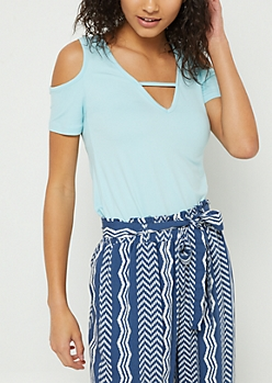 Aqua Cold Shoulder Super Soft Tee