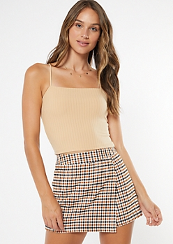 Nude Bungee Strap Ribbed Knit Crop Top
