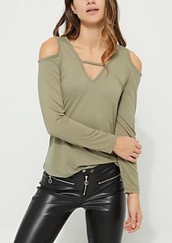 Olive Soft Brushed Cold Shoulder Top