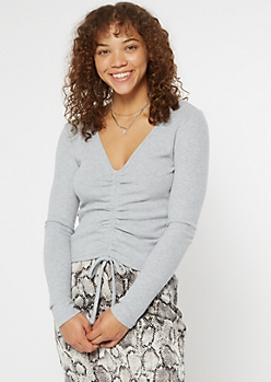 Heather Gray Hacci Knit Ruched Drawstring Top
