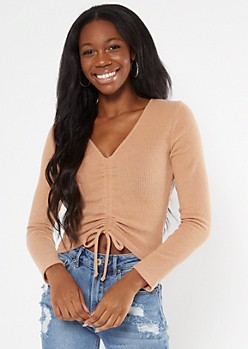 Brown Hacci Knit Ruched Drawstring Top