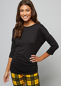 Black Elbow Sleeve Ruched Side Tunic