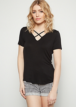 Black Crisscross Neck Essential Tee