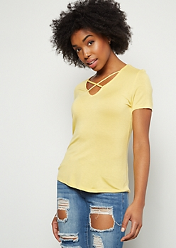 Light Yellow Crisscross Neck Essential Tee