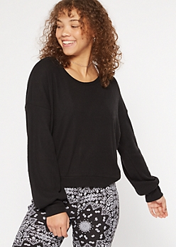 Black Hacci Knit Open Twist Back Top