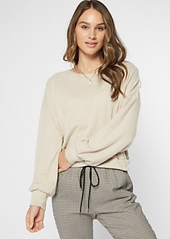 Oatmeal Heather Hacci Knit Open Twist Back Top