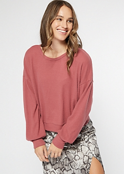 Pink Hacci Knit Open Twist Back Top