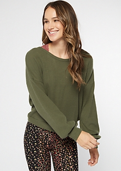 Olive Hacci Knit Open Twist Back Top
