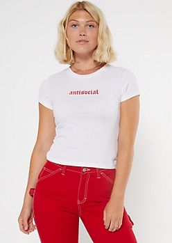 Antisocial Embroidered Fitted Baby Tee