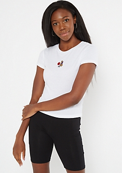 White Butterfly Rose Embroidered Fitted Tee