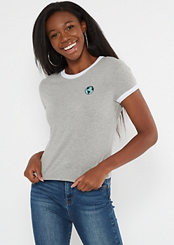 Heather Gray Earth Embroidered Ringer Tee