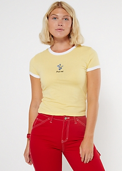 Yellow Stay Wild Embroidered Ringer Baby Tee