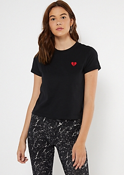 Black Broken Heart Embroidered Boxy Tee